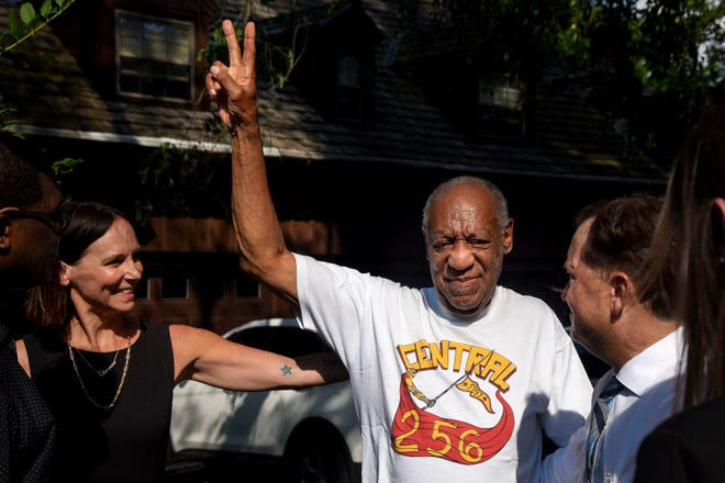 Bill Cosby, accompanied by his attorneys and other aides, makes his first public appearance at his home in Elkins Park, Pennsylvania, after being released from prison on Wednesday, June 30, 2021. (Tom Gralish/The Philadelphia Inquirer/TNS)