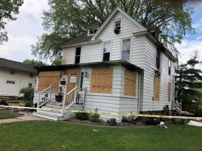 This house at 183 E. Main., Milan, sustained heavy fire damage.