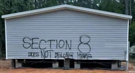 The Walton County Sheriff's Office is looking for information on whoever painted this graffiti on the side of a house being set up on East Point Washington Road in the southern end of Walton County. The incident occurred sometime during the weekend, and is being investigated as a case of criminal mischief.