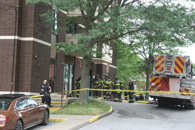 Firefighters, police and ambulance crews at 100 Rutger St. in Utica Thursday afternoon.