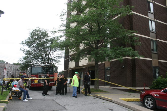 Residents of The Historical Park Apartments in Utica were evacuated after several of them experienced a burning sensation in their eyes and throats Thursday afternoon.