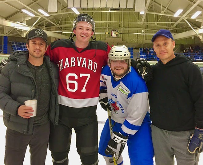 Posing on the hockey rink set of the film 'Odd Man Rush' are, from left, Todd Slater, Trevor Gretzky, Bjorn Alexander and Grant Slater. The movie was filmed in and around Hamilton in 2019 and will be featured Saturday, July 24 at the Hamilton Movie Theater.