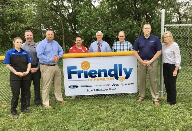 The Friendly Auto Group of Hamilton donated $50 from every vehicle sold in May to benefit softball field fence improvements at the New Life Christian School in Randallsville.