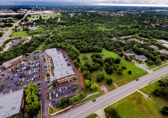 The area of land between Edmond's Hafer Park and south to the Spring Creek Plaza is shown in this aerial photo. The land is part of an ongoing conflict between residents and developers that could have a resolution decided by an upcoming special sales tax election.