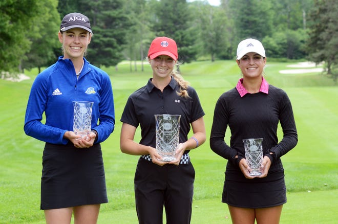 The top three of the AJGA Coca-Cola Junior Championship at Boyne Highlands included (from left) Lilia Henkel (2nd), Kary Hollenbaugh (1st) and Lilly DeNunzio (3rd).
