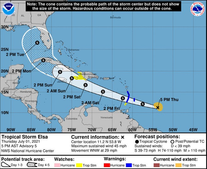 The National Hurricane Center's path for Tropical Storm Elsa as of 5 p.m., Thursday.