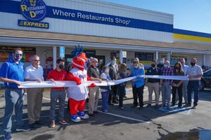 Ribbon cutting ceremony at the opening of Restaurant Depot in Stockton.