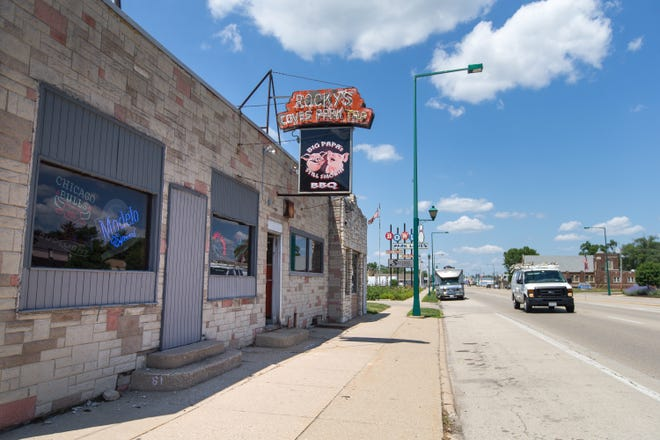 Traffic along North 2nd Street flows at Rocky's Bar and Grill Thursday, July 1, 2021, in Loves Park. Loves Park City Council approved a change to its liquor ordinance that will allow a total of 15 bars or taverns within city limits, more than double the current number.