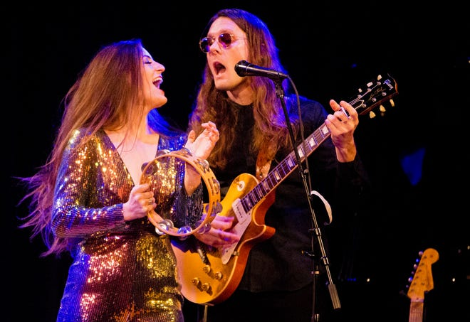 """The Bergamot — Nathaniel Hoff, right, and Jillian Speece — performs Aug. 18, 2021, at Purple Porch Food Co-op as part of the food and music festival """"Porch-a-palooza."""" The other musical acts are Molly Moon and Riley O'Connor, StarHeart, and Mongo Catz."""