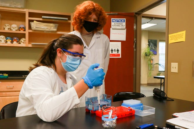Two students work on an experiment during a summer camp at Gardner-Webb.
