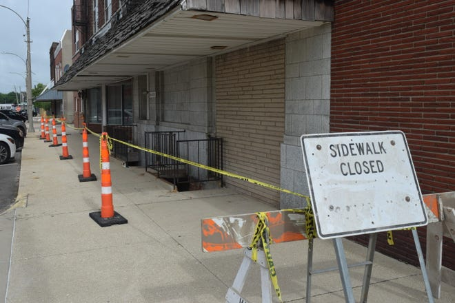 The sidewalk in front of the Odd Fellows building on Second Street was closed by the city this week out of caution as an engineer checks the structural integrity of the building.