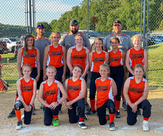 The Somerset Pizza Hut 10U softball team recently completed their Laurel Highlands Youth League season by capturing the league championship with a final record of 15-0-1. Team members include, front, from left, Anna Moon, Ella Thompson, Summerlyn Ziegler, Molly Stoy and Cahli Foltz, middle, Madilyn Swinger, Sophie ElBayly, Payton Pollock, Maria Cacciotti, Alexis Hillegass and Willow Harvey, back, coach Marc Cacciotti, coach Vince Pollock and coach Brian Thompson.