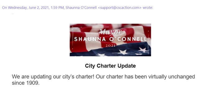 In early June, an email went out, seemingly from Mayor Shaunna O'Connell, which contained some divisive, partisan messaging.