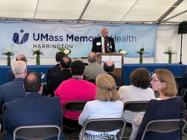 Harrington President & CEO Ed Moore speaks during a ceremony Thursday marking the health-care systems alignment with UMass Memorial Health.