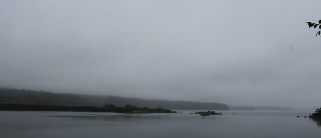 Summer in New England: From blinding sun to dreary fog in a matter of hours. This view of the Wachusett Reservoir could easily be off the coast of Maine.