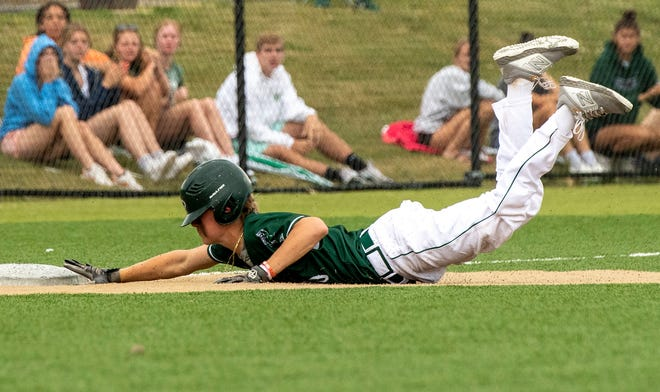 Tahanto Regional's Jackson Rice slides into third base with a triple against Hopkins Academy during a Division 4 state semifinal at Auburn High School on Thursday.