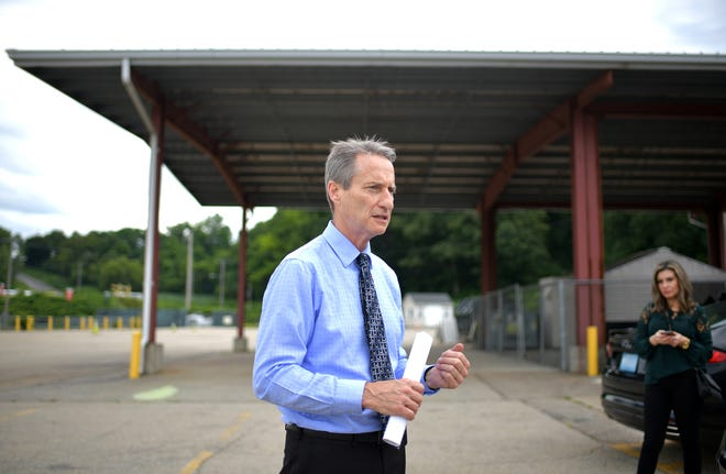DPW Commissioner Jay Fink held a press conference at the Millbury Street Drop-off Center Thursday, where he discussed the lowering of various fees and rates, and the expansion of service as part of the Clean Worcester Program.
