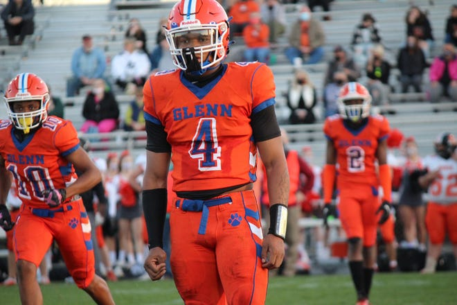 Three-star 2022 recruit and Glenn High School linebacker Albert Redd (4) was named Central Piedmont 4-A conference defensive player of the year. Redd had 71 tackles as the Bobcats of Kernersville went 5-2 and earned a share of the regular-season conference title.