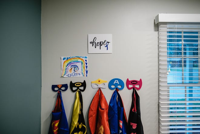Costumes for children hang in an interview room at Noah's Hope Child Advocacy Center. TIMES-REPORTER/ANDREW DOLPH