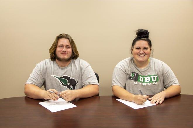 Matt Higdon and Caitlin Mannon signing NLI with Oklahoma Baptist University