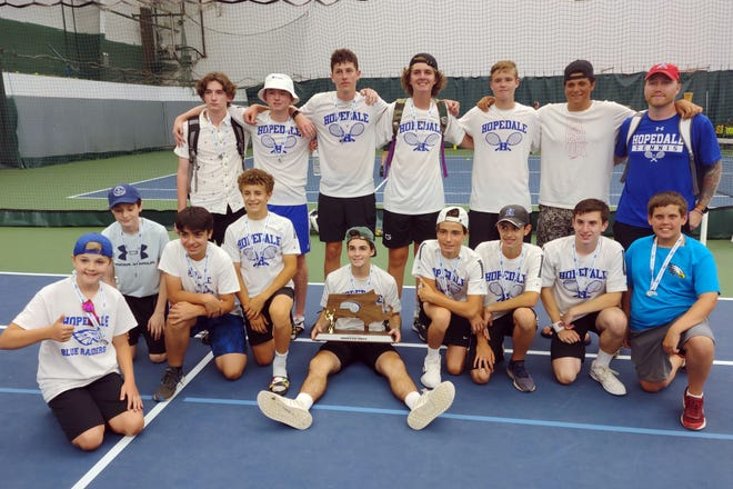 Hopedale players and coach with their Division 3 state finalist trophy, June 30, 2021.