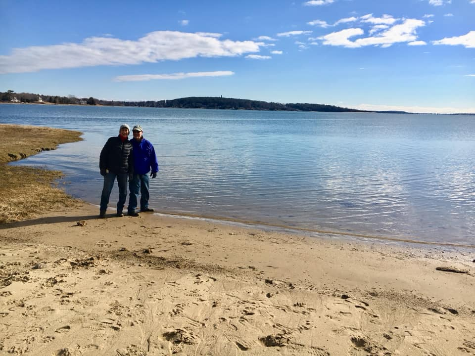 The Harberts began their journey on the Bay Circuit Trail from the edge of Kingston Bay.