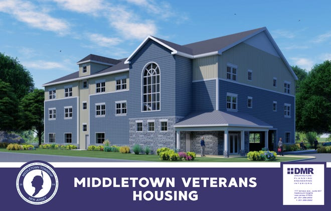 An initial rendering shows the 12-unit affordable housing complex Middletown officials plan to build on Leonardville Road to support veterans.