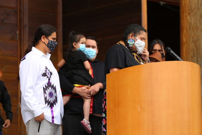 The children of Stonechild Chiefstick speak at a press conference in Suquamish on Thursday. Chiefstick's family members have filed a lawsuit in U.S. District Court against the city of Poulsbo for the shooting on July 3, 2019.