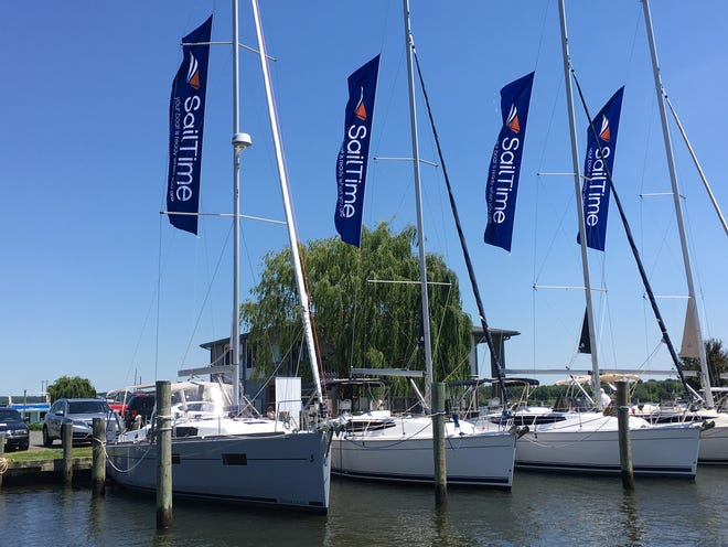 Part of the SailTime fleet. Sailtime is an American Sailing Association-approved sailing school that teaches members how to sail when they reserve their vessel.