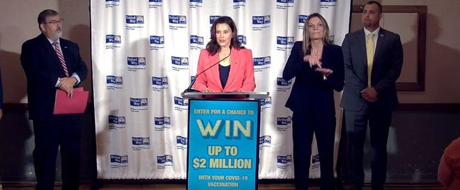 Gov. Gretchen Whitmer speaks about Michigan's COVID-19 vaccine sweepstakes on Thursday, July 1, 2021.