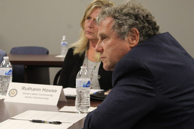 U.S. Sen. Sherrod Brown, D-Ohio, visited Fremont Thursday and listened to city and county officials' concerns about infrastructure needs at an afternoon roundtable held at the Great Lakes Community Action Partnership's downtown office. Ruthann House, GLCAP's executive director, was one of the officials that spoke with Brown.