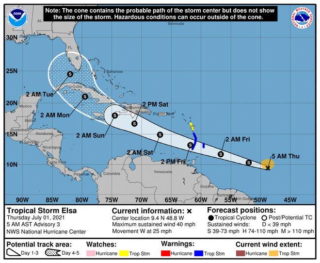 Tropical Storm Elsa forms east of Caribbean.