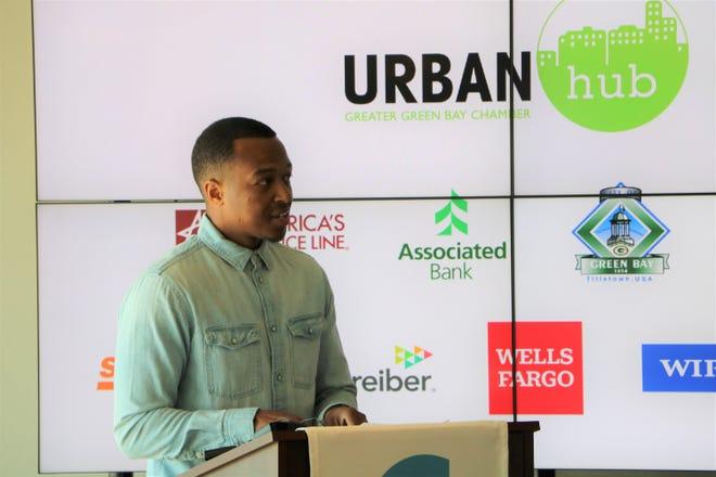 Blueprint founder Khalif El-Amin speaks at the Blueprint Green Bay announcement event on June 15.