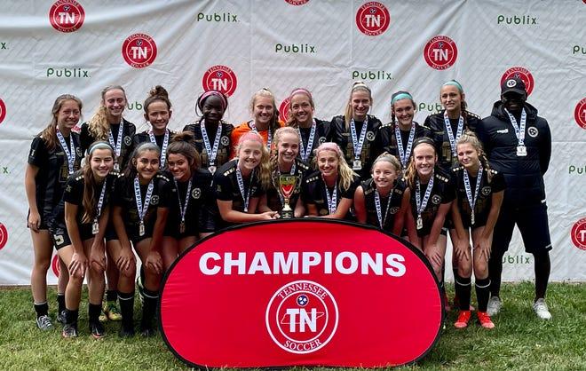 Jackson Soccer Club's 17U girls team celebrates its state championship won in Murfreesboro in May.