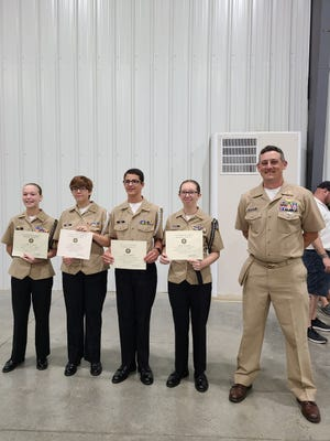 Four Mountain Home High School Navy Junior Reserve Officers Training Corps cadets were recently selected to participate in this year's 2021 NJROTC Area Leadership Academy at Camp Clark, Missouri. Cadet Lt. Faithe-Ann Hall, Cadet Lt. Junior Grade Trinity Cruse, Cadet Ensign Paige Street and Cadet Ensign Ryan Amick completed the six-day academy.