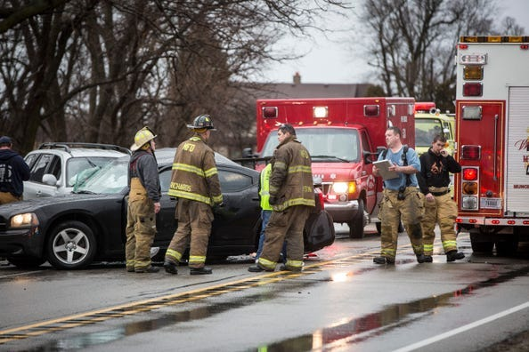 Emergency officials responded to a deadly crash on U.S. 35 on Dec. 31, 2018 near Delaware County Road 500-E. One person was killed in the accident with three others injured.