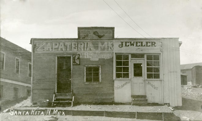 P. B. Samaniego's shoe shop and jewelry store in Santa Rita, ca. 1920. Courtesy of the Silver City Museum.