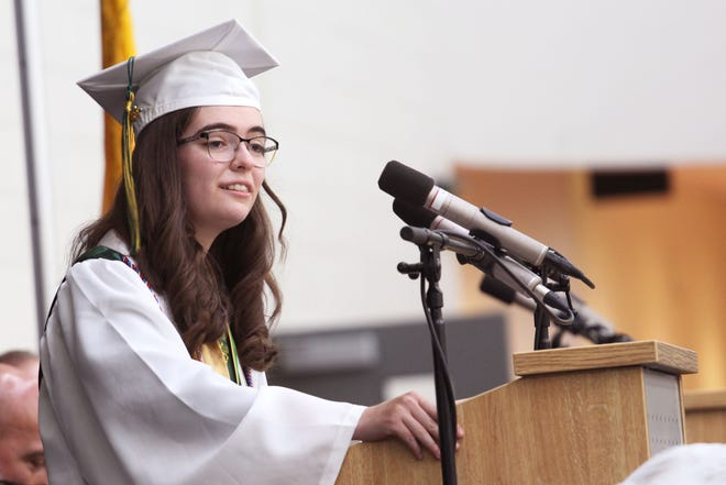 Mayfield High Schools' Class of 2020 valedictorian MireyaSánchez-Maes gives a powerful speech during the graduation ceremony at Centennial High School on July 1, 2021.