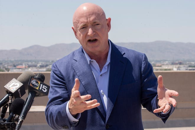Sen. Mark Kelly visits Phoenix Sky Harbor International Airport to view the construction of the airport's new concourse and discuss his work in the Senate on bipartisan infrastructure proposals.