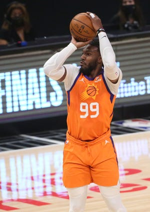 Phoenix Suns forward Jae Crowder (99) shoots against the LA Clippers during Game 6 at STAPLES Center June 30, 2021.