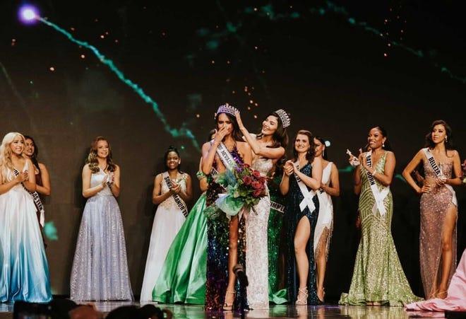 A photo of Kataluna Enriquez crowned Miss Nevada USA.  Enriquez was the first transgender woman to be crowned Miss Nevada USA.