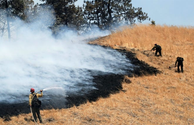 Firefighters work to extinguish a grass fire next to Interstate 5 south of Lakehead during the Salt Fire on Thursday, July 1, 2021.