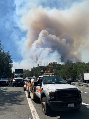 Caltrans captured this image of the smoke plume from the Salt Fire burning about 20 miles north of Lakehead.