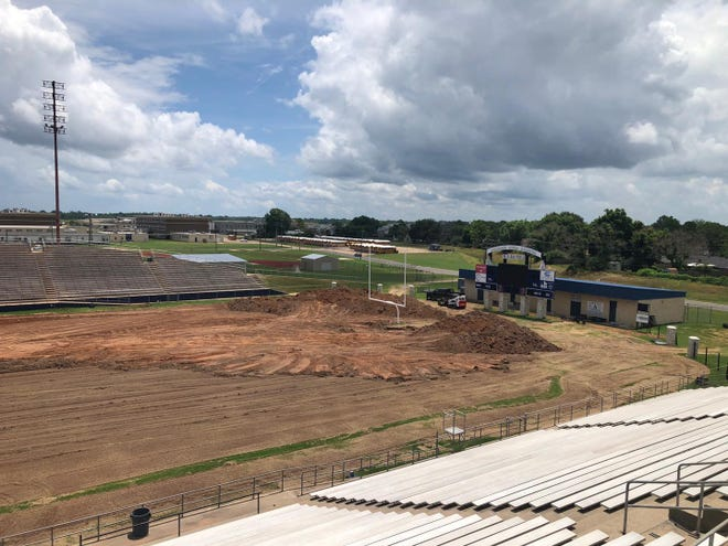 M.D. Ray Field at Airline is undergoing a $1.2 million project to install a turfed field and LED lighting.