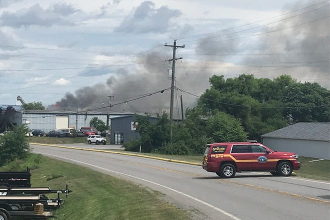 Firefighters responded to Expo Road on Thursday to battle a blaze.