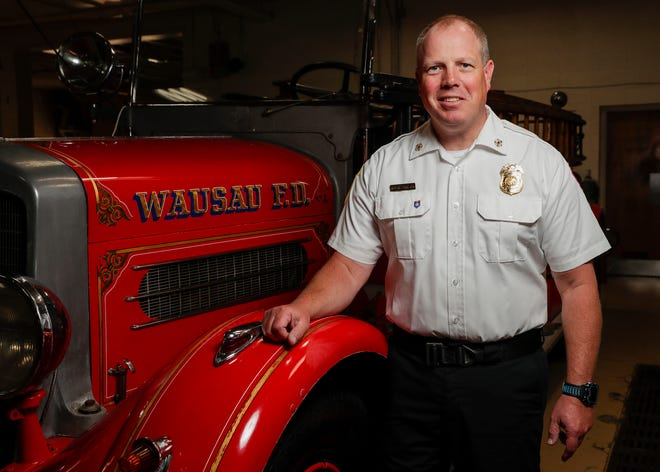 Wausau Fire Department Chief Bob Barteck poses for a portrait on Thursday, July 1, 2021, at Wausau Fire Station No. 1 in Wausau, Wis. Barteck was named the department's new chief on June 8 after serving as deputy chief since 2019.Tork Mason/USA TODAY NETWORK-Wisconsin