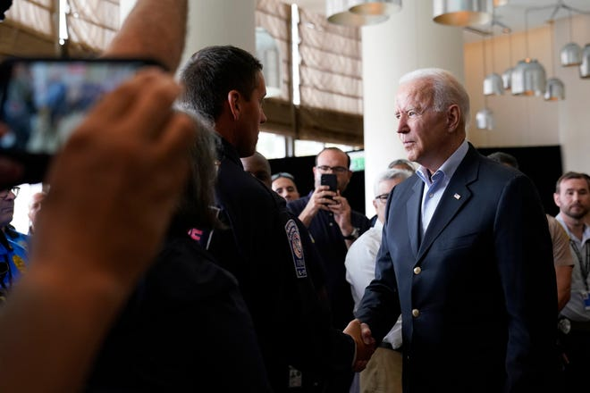 President Joe Biden meets with first responders in Miami Beach, Fla. On Thursday, July 1, 2021, who were working on the condominium tower that collapsed in Surfside, Fla. Last week.