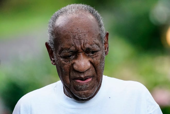 Bill Cosby outside his home in Elkins Park, Pa., after he was released from prison on June 30, 2021.