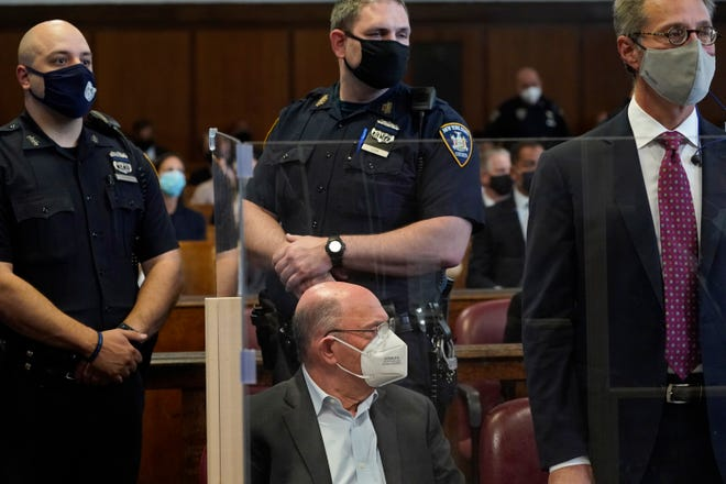Trump Organization chief financial officer Allen Weisselberg appears in New York court after surrendering to authorities on July 1, 2021 in New York City.