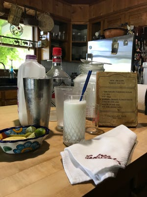Makings for a New Orleans Ramos Gin Fizz, as served at the Cadillac Bar in Nuevo Laredo.